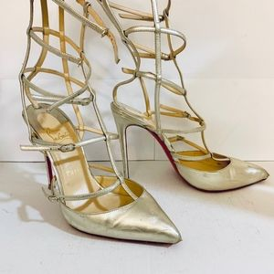 Louboutin KADREYANA 100 Gold Leather Cage Pump